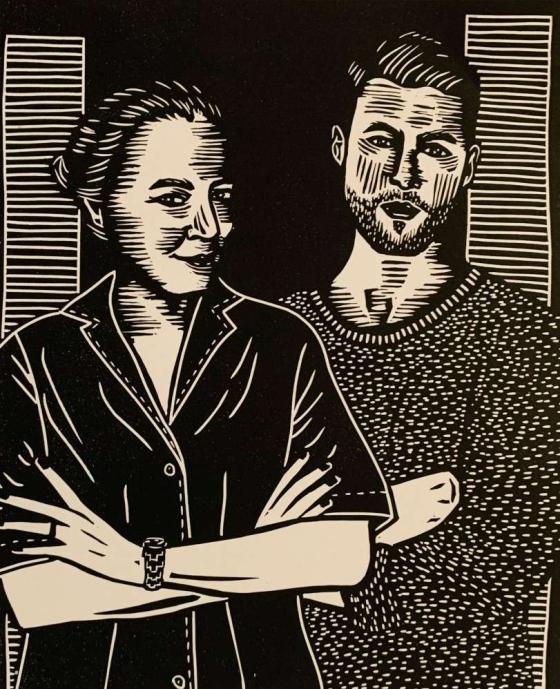 Curator, critic, and writer Maria Cristina Didero and designer Jorge Penadés. Illustration by Anna Ruiz.